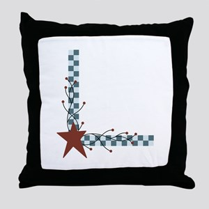 Primitive Country Star Border Throw Pillow