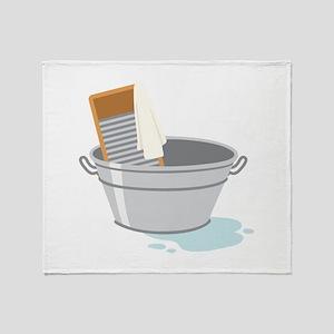 Laundry Tub Washboard Throw Blanket
