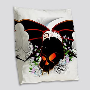 Skull with flowers and wings Burlap Throw Pillow
