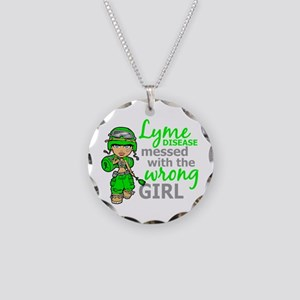Lyme Disease Combat Girl Necklace Circle Charm