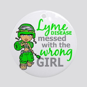 Lyme Disease Combat Girl Ornament (Round)