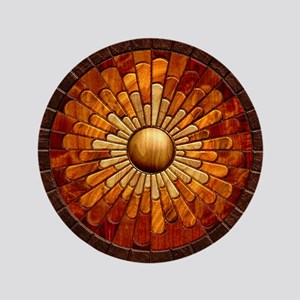 "Harvest Moons Marquetry Sunburst 3.5"" Button"