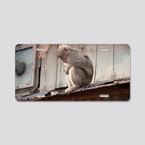monkey on the roof Aluminum License Plate