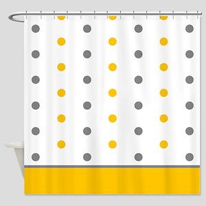 Grey and Orange Polka Dots Shower Curtain