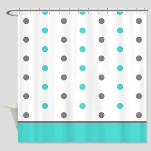 Grey and Aqua Teal Polka Dots Shower Curtain