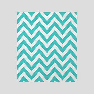medium turquoise and white chevrons Throw Blanket
