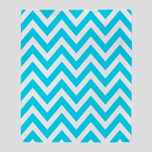 Aqua and white chevrons Throw Blanket