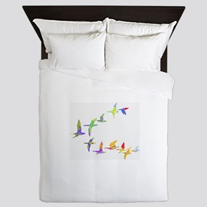 Colorful geese Queen Duvet