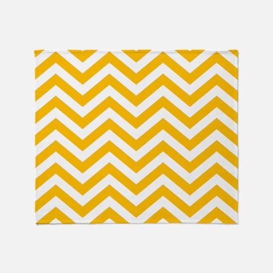 Amber Yellow and white chevrons Throw Blanket