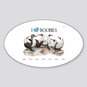 I Heart Boobies Sticker (Oval)
