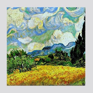 Van Gogh - Wheat Field with Cypresses Tile Coaster