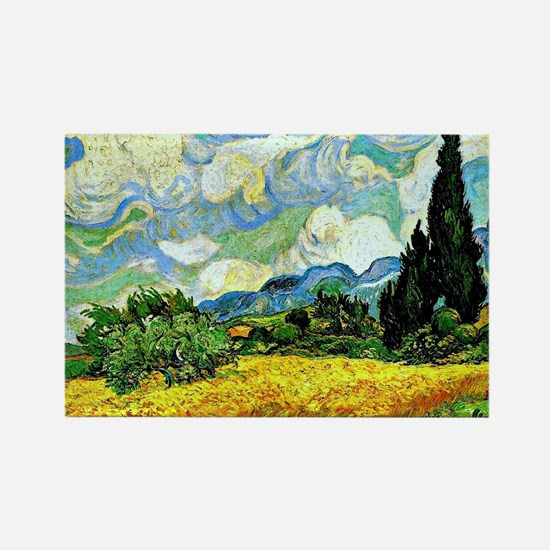 Van Gogh - Wheat Field with Cypre Rectangle Magnet