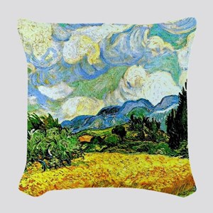 Van Gogh - Wheat Field with Cy Woven Throw Pillow