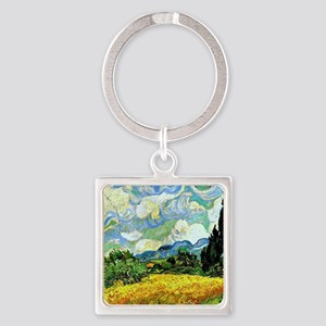 Van Gogh - Wheat Field with Cypres Square Keychain