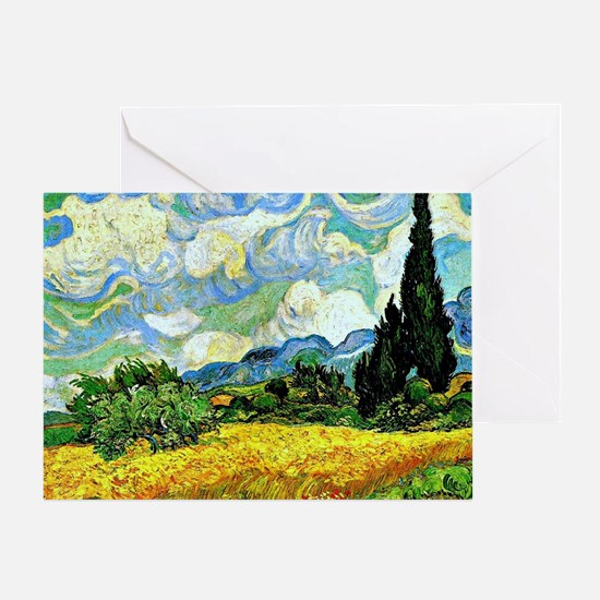 Van Gogh - Wheat Field with Cypresse Greeting Card
