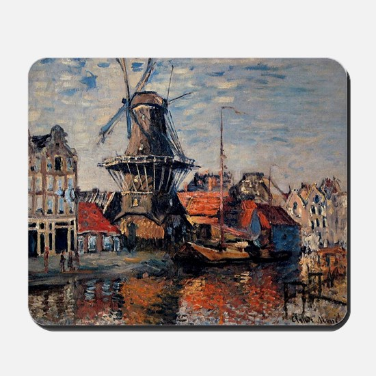 Monet - Windmill on the Onbekende Canal, Mousepad
