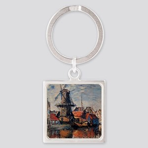 Monet - Windmill on the Onbekende  Square Keychain