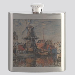 Monet - Windmill on the Onbekende Canal, Ams Flask