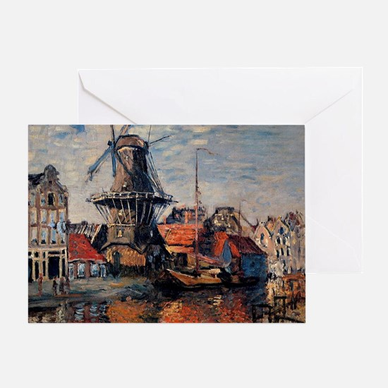 Monet - Windmill on the Onbekende Ca Greeting Card
