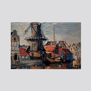 Monet - Windmill on the Onbekende Rectangle Magnet