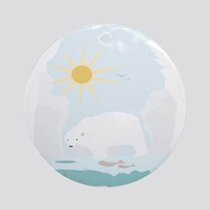 Cute Polar Bear try to get some fish and sun Ornam