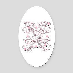 Pink Lace Floral Rose Oval Car Magnet