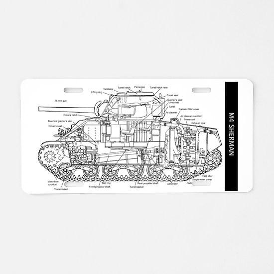 M4 SHERMAN CUTAWAY Aluminum License Plate