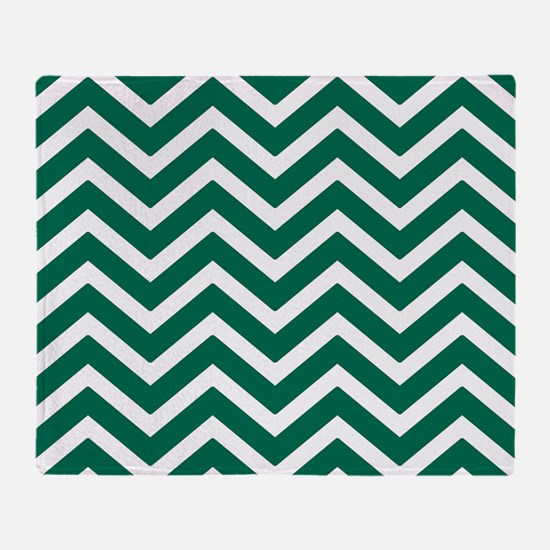 Green and white chevrons Throw Blanket