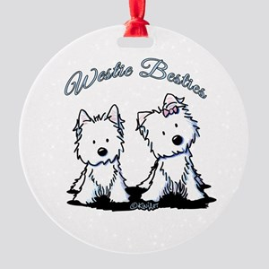 Westie Besties Round Ornament
