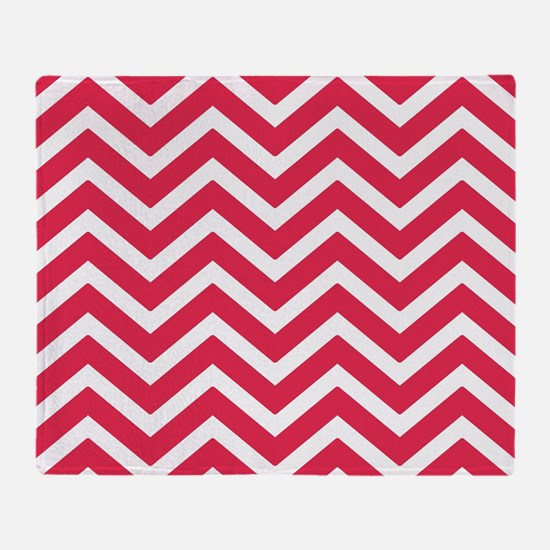 Amarinth red and white chevrons Throw Blanket
