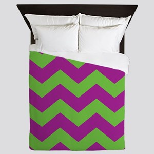 Purple and Green Chevron Queen Duvet