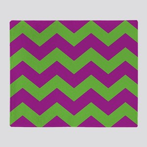 Purple and Green Chevron Throw Blanket
