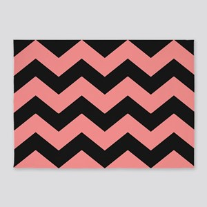 Pink and Black Chevron Pattern 5'x7'Area Rug