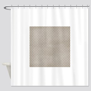 Beige Lattice Vintage Look Shower Curtain