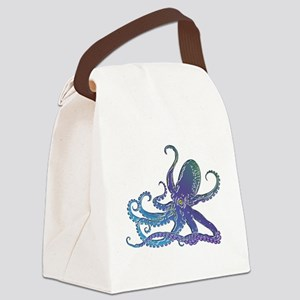 Shiny Blue Purple Graphic Octopus Canvas Lunch Bag