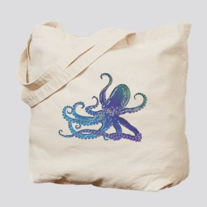 Shiny Blue Purple Graphic Octopus Tote Bag