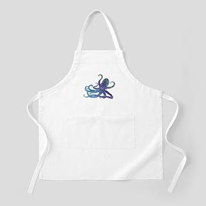 Shiny Blue Purple Graphic Octopus Apron