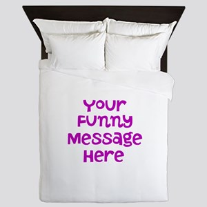 Four Line Dark Pink Message Queen Duvet