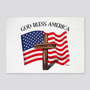 God Bless American With US Flag and 5'x7'Area Rug