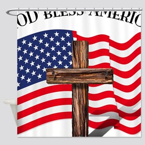 God Bless American With US Flag and Shower Curtain