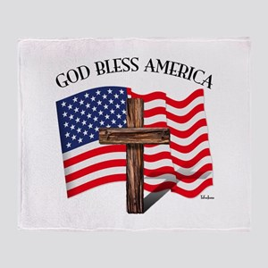 God Bless American With US Flag and Throw Blanket