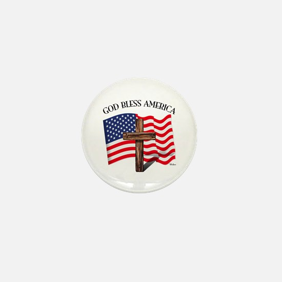 God Bless American With US Flag and Ru Mini Button