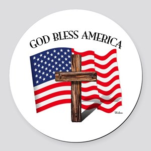 God Bless American With US Flag a Round Car Magnet