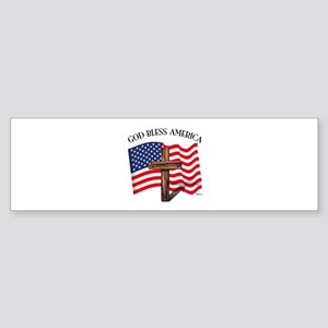 God Bless American With US Flag a Sticker (Bumper)