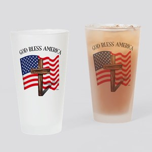 God Bless American With US Flag and Drinking Glass