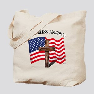 God Bless American With US Flag and Rugge Tote Bag