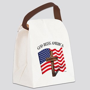 God Bless American With US Flag a Canvas Lunch Bag