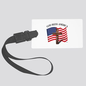 God Bless American With US Flag Large Luggage Tag