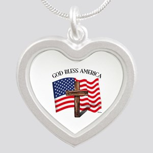God Bless American With US F Silver Heart Necklace