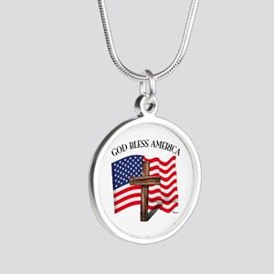 God Bless American With US F Silver Round Necklace